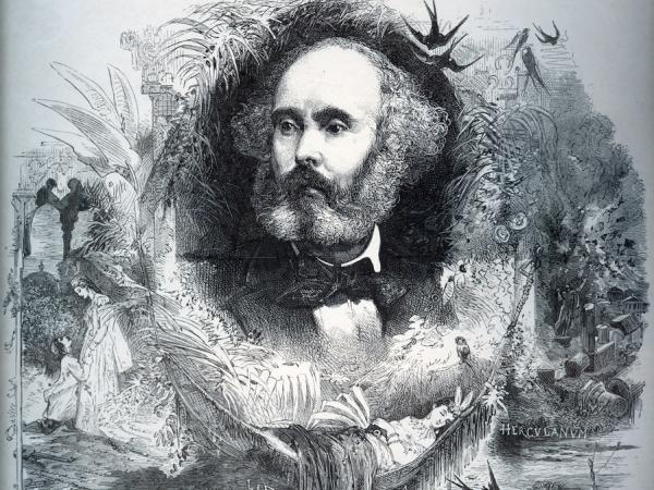 A portrait of French composer Félicien-César David (from 1876), celebrating his famous orchestral ode <em>Le Désert</em>.