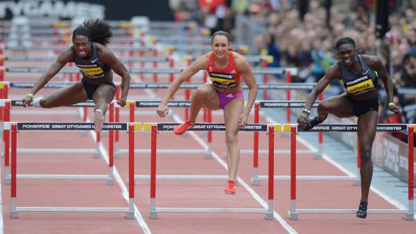 Count back and you'll see: Jessica Ennis (center) and other competitors only went over nine hurdles. There were supposed to be 10.