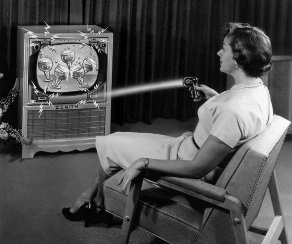 "This 1955 photo illustration provided by LG Electronics, shows an ad for a Zenith ""Flash-Matic,"" the first wireless TV remote control."