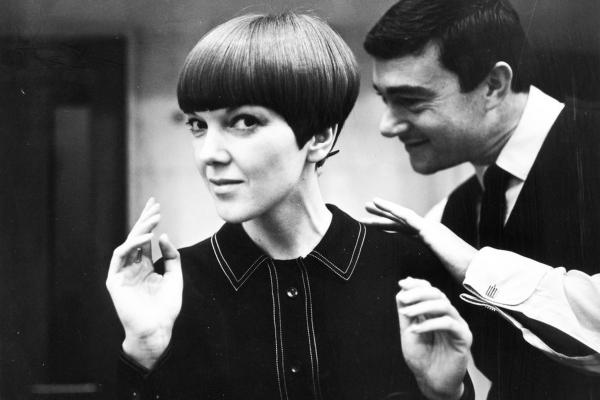 Vidal Sassoon gave British fashion designer Mary Quant her signature hairstyle, the bob.