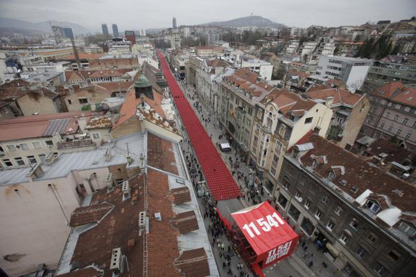 Red chairs fill a main street in Sarajevo on April 6, 2012, as the city marks the 20th anniversary of the start of the Bosnian war.