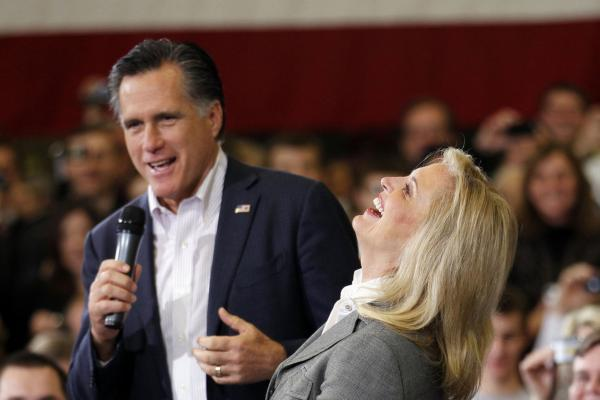 <b>LOL:</b> Ann Romney laughs with her husband during a town hall meeting in Youngstown, Ohio, in March.