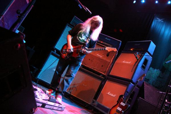 Dinosaur Jr.'s J. Mascis practically encases himself in Marshall stacks.