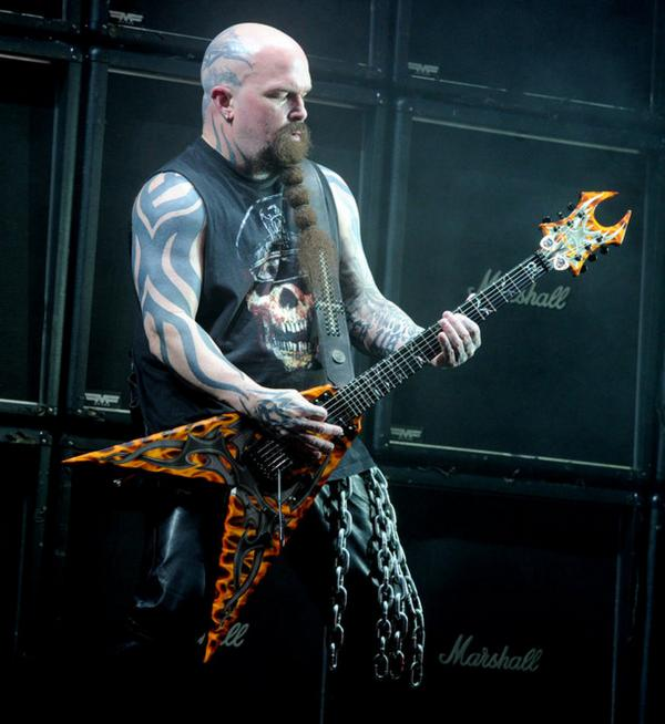 "Only Marshall amps can handle the ""modulistic terror"" of Kerry King's divebombing guitar solos for Slayer."