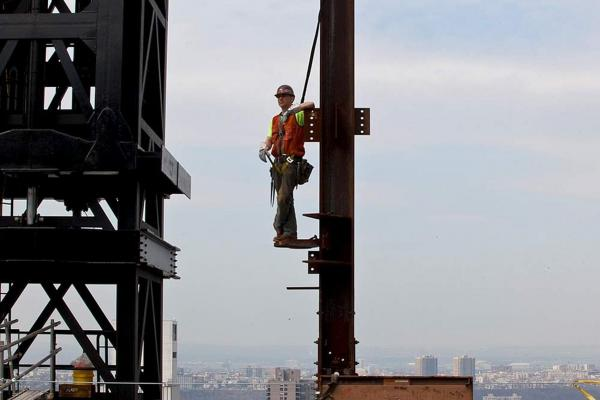 Martin takes a break on what will be the 27th floor of a Manhattan office building.