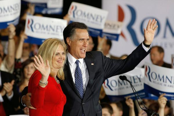 Mitt Romney and his wife Ann  celebrate their victory in the Illinois GOP primary in Schaumburg, Ill.
