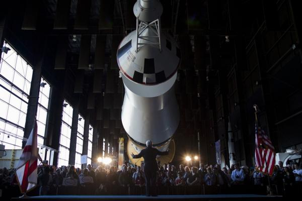 Former House Speaker Newt Gingrich speaks at the U.S. Space and Rocket Center, in Huntsville, Ala.