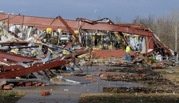 Henryville High School in southern Indiana was significantly damaged. No major injuries were reported.