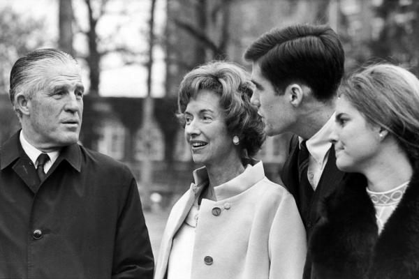 George and Lenore Romney with Mitt and his then-fiancée, Ann Davies, outside their Washington hotel on Jan. 19, 1969, a day before Richard Nixon's inauguration.