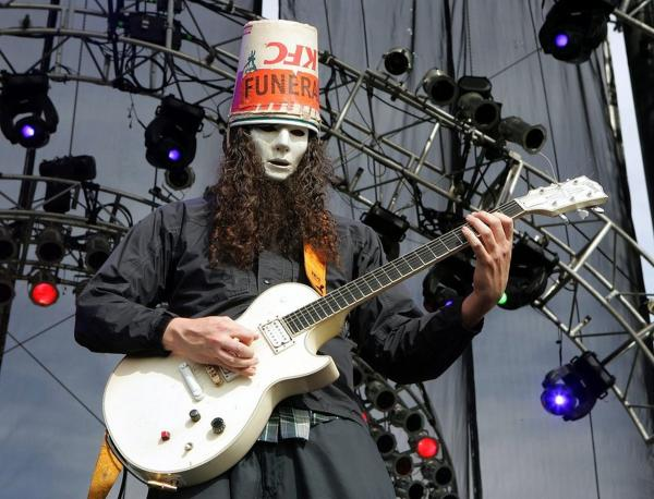 Guitarist Buckethead, who has played with Guns 'n' Roses, Bootsy Collins and Les Claypool, performs with the band Praxis at the Vegoose music festival in Las Vegas, Nevada.