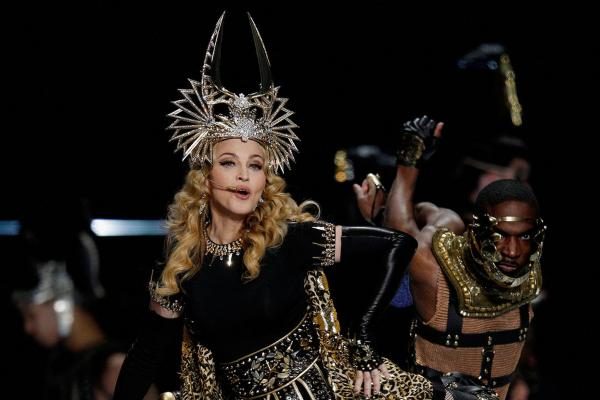 Madonna tranformed from Cleopatra mode to a full gospel choir during the halftime show.