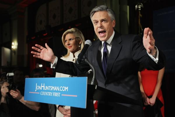 Jon Huntsman, who took third place, speaks at his primary night rally in Manchester.