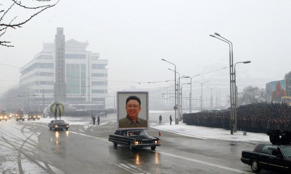 The funeral procession for North Korea's late leader Kim Jong Il arrives at the square of the Kumsusan Memorial Palace in the capital Pyongyang.