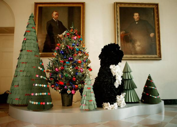 Several versions of the Obamas' Portuguese water dog, Bo, appear throughout this year's decorations, ranging from a miniature licorice and marshmallow version to a this 4½-foot-tall felt topiary.