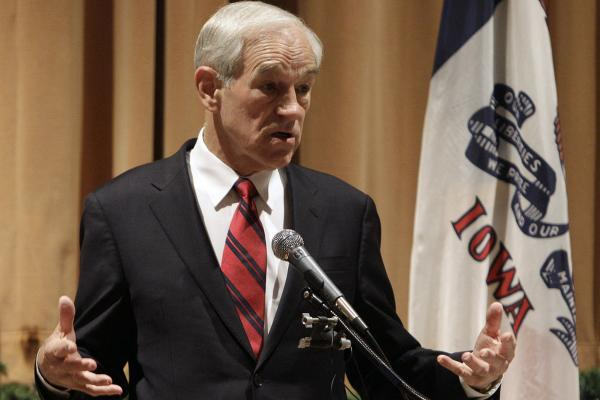 U.S. Rep. Ron Paul of Texas speaks during a town hall meeting at the Fisher Community Center, Saturday, Dec. 10, 2011, in Marshalltown, Iowa.