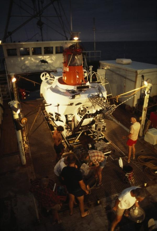The Alvin, seen here in the 1970s nestled safely aboard its mother ship, Lulu, helped revolutionize ocean science. Built in 1964, the sub could dive nearly three miles deep, making it possible for humans to explore the seafloor. Dives were typically seven to nine hours long.