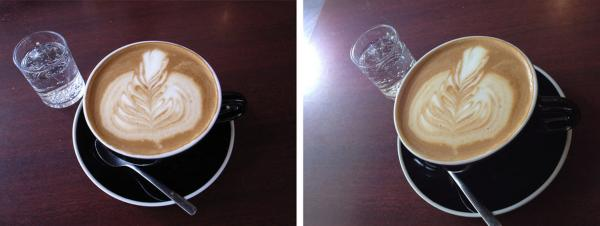 These images are a comparison between an 8 megapixel digital camera (left) and an iPhone 4S (right) The images were taken at the same time and distance at Chinatown Coffee in Washington, D.C.