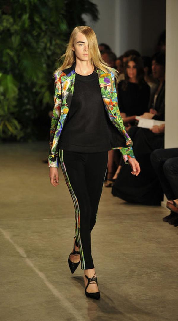 Joseph Altuzarra worked a floral print into a narrowly tailored jacket and pants, sharply set off against black.