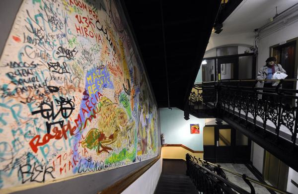A decorated stairway is just one of many art-adorned spaces at the hotel.