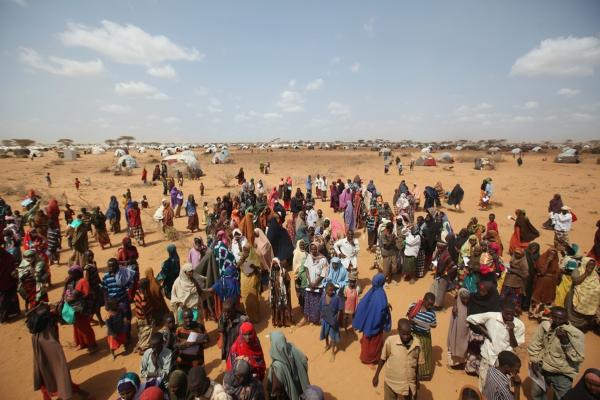 Newly arrived refugees wait for tents at the Dagahaley camp on July 21. The refugee settlement at Dadaab was designed in the early 1990s to accommodate 90,000 people, but the U.N. estimates more than four times as many reside there.