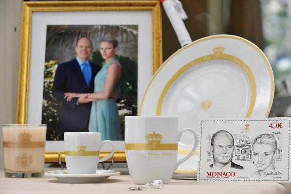 Official souvenirs for the royal wedding on display May 28. Albert and Wittstock will be married in ceremonies Friday and Saturday.