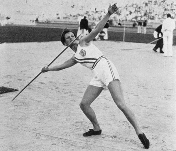 A javelin throw of 43.69 meters won Didrikson a second gold medal at the 1932 Summer Games. She and teammate Jean Shiley tied for gold in the high jump, but her medal was demoted to silver after judges questioned her form.
