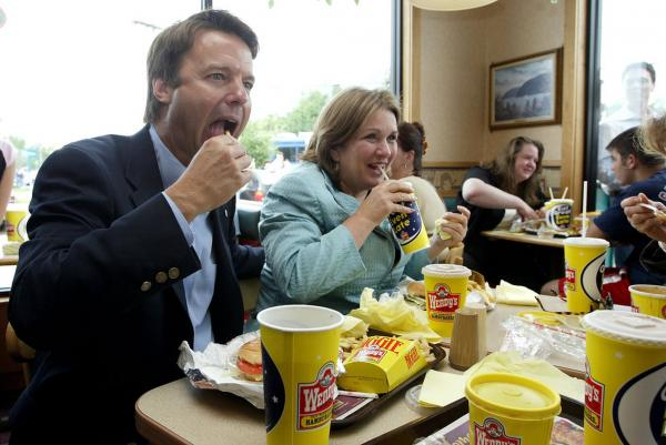 Lunch at a Wendy's fast food restaurant was a wedding anniversary tradition for the Edwards. Here they celebrated their 27th on July 30, 2004 in Newburgh, N.Y.
