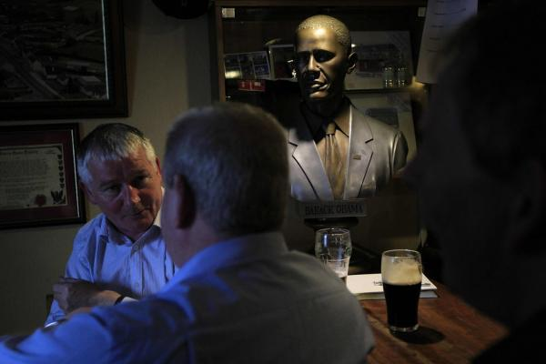 A bust of Obama stands on the bar of Ollie Hayes pub in Moneygall.