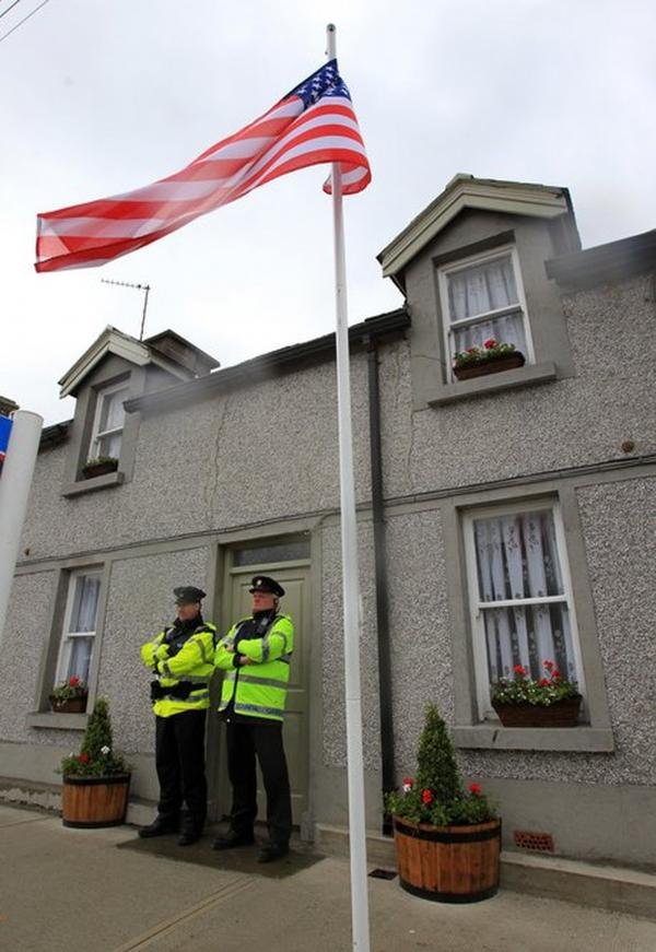 Police guard the house once occupied by Obama's ancestors in Moneygall.