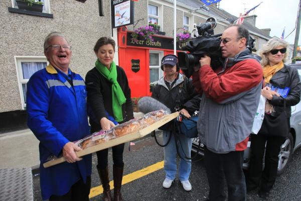 Moneygall resident Joseph Kearney is filmed by the <i>Today</i> show as he delivers Obama-themed brack bread.