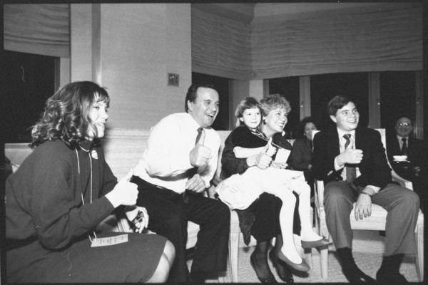 Surrounded by family, the younger Daley, then a Democratic mayoral candidate, watches primary returns in February 1989.