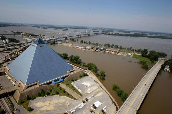 MAY 10: A flood wall protects the Pyramid Arena from the swollen Mississippi River after it crested at nearly 48 feet in Memphis, Tenn.
