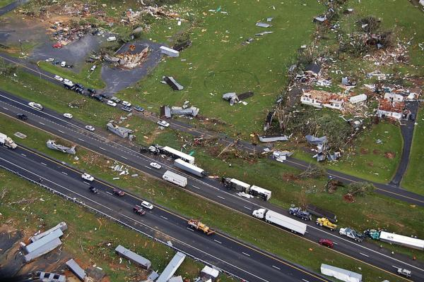 A police aerial photo shows damaged buildings in Glade Spring, Va.