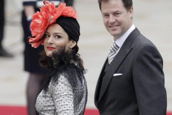 Britain's Deputy Prime Minister Nick Clegg and his wife, Miriam, arrive at Westminster Abbey on Friday.