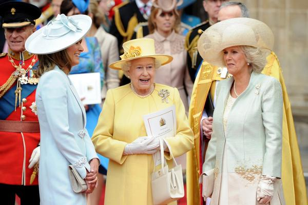 Carole Middleton (from left), Queen Elizabeth II and Camilla, Duchess of Cornwall, exit Westminster Abbey.