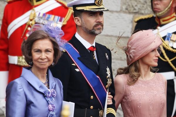 Spain's Queen Sofia (from left), Prince Felipe and Princess Letizia depart for the procession to Buckingham Palace.