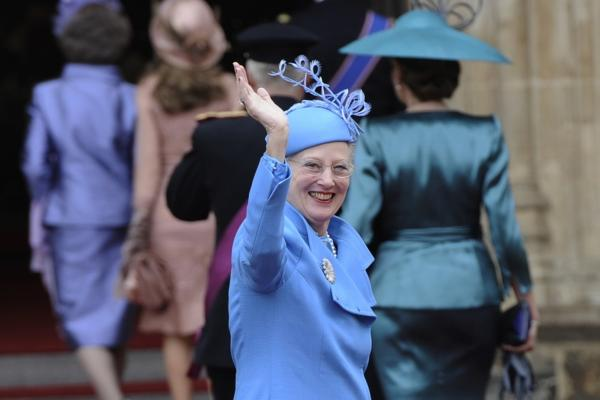 Denmark's Queen Margrethe arrives at Westminster Abbey.