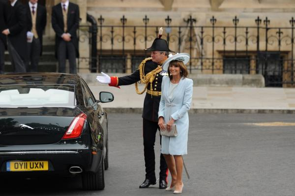 Carole Middleton, the mother of Kate Middleton, arrives at Westminster Abbey.
