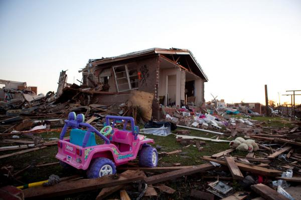The sun sets on the devastated Rosedale community in Tuscaloosa, Ala., on Thursday.