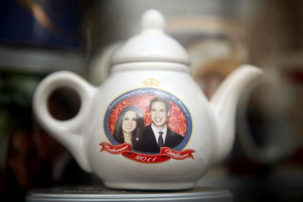 A royal wedding souvenir teapot is displayed for sale in London. While 46 percent of Britons were reported feeling anything but excited about the royal wedding, according to <i>The Guardian</i> newspaper, many Americans see the big day as a highlight of their week.