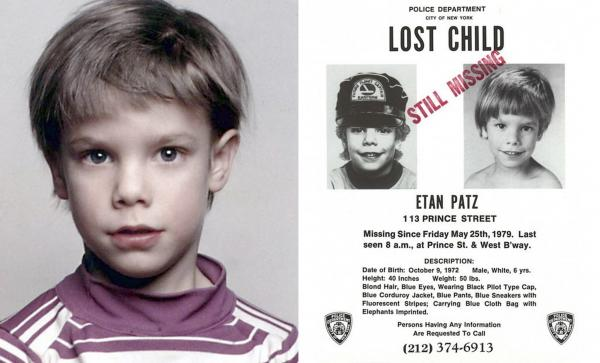 "Etan Patz, and the ""lost child"" poster issued after his 1979 disappearance."