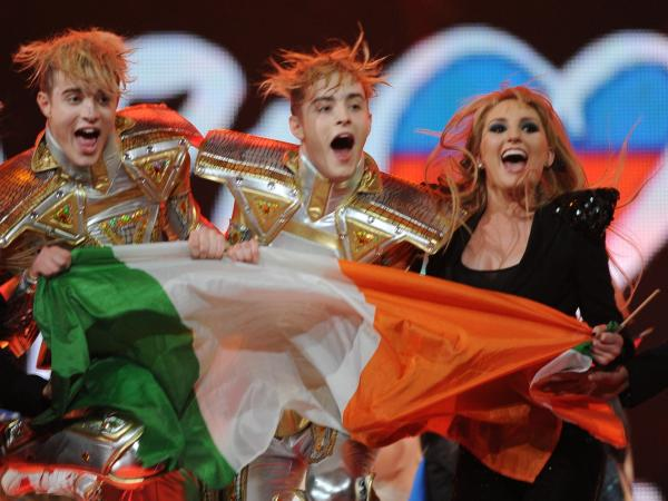 Ireland's pop duo, Jedward, celebrate after hearing their results during the First Semi-Final of the Eurovision 2012 song contest in the Azerbaijan's capital Baku, late on May 22, 2012.