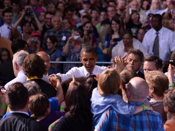President Barack Obama greets supporters during a campaign event at the Paul R. Knapp Animal Learning Center in Des Moines, Iowa, on May 24, 2012.