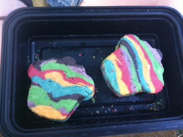 Adam made his in the shape of cupcakes, because for some reason he didn't have a burro-shaped cookie cutter.