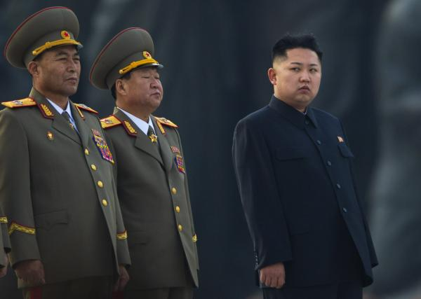 North Korean leader Kim Jong Un stands next to senior military leaders during a ceremony in honor of his father, Kim Jong Il and grandfather, Kim Il Sung in Pyongyang.