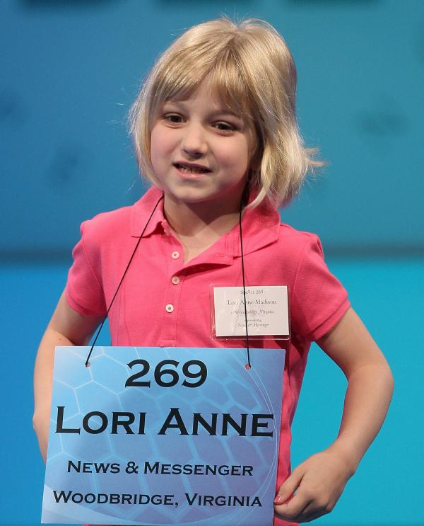 Six-year old Lori Anne Madison during Wednesday's competition at the National Spelling Bee.