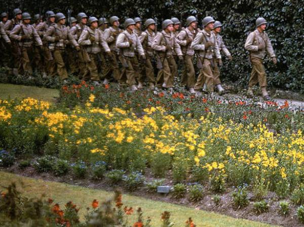 Rare color photos taken by <em>Life </em>photographer Frank Scherschel show quiet scenes in the days before and after D-Day in 1944; Scherschel did not record caption information for each individual image, but together they tell an unusually vivid story of a typically black-and-white era.