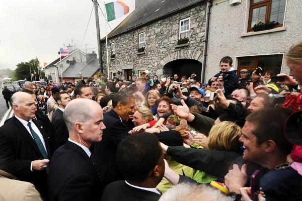 Obama greets residents in Moneygall, the village of his great-great-great grandfather Falmouth Kearney.