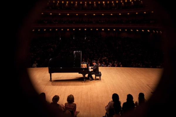 A bird's-eye view from backstage during Lang Lang's performance.