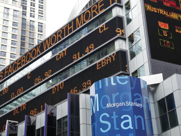A financial news stock ticker on Morgan Stanley headquarters carries a headline about Facebook. Morgan Stanley has had multiple problems in recent weeks.